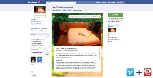 Flash Minisite for Facebook Fan Page