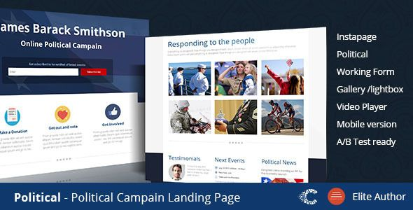 Political - Campaign Instapage Template