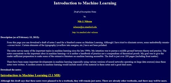 Introduction To Machine Learning by Nils J Nilsson