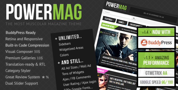 PowerMag - The Most Muscular Magazine -Reviews Theme