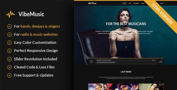 VibeMusic - Musicians, Deejays, Singers, Bands HTML template