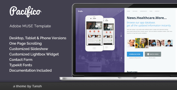 Pacifico One Page Muse Template